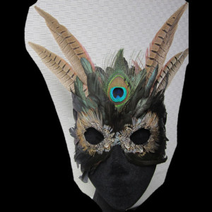 Natural Feather Irridescent Winged FantaFaces Mask